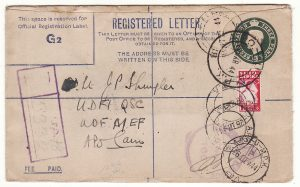 ITALY -EGYPT...WW2 SOUTH AFRICAN FORCES using GB REGISTERED Envelope...