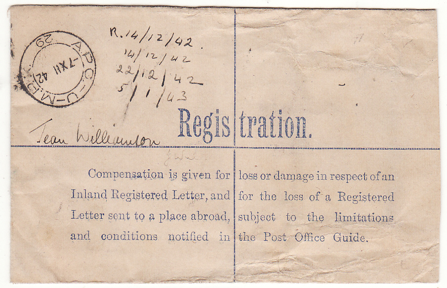 [20132]  EGYPT - SOUTH SFRICA...WW2 SOUTH AFRICAN FORCES using GB REGISTERED Envelope...   1942 (Dec 7)
