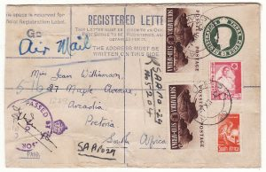 EGYPT - SOUTH SFRICA...WW2 SOUTH AFRICAN FORCES using GB REGISTERED Envelope...
