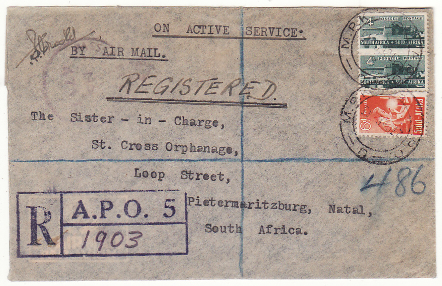 [20133]  EGYPT - SOUTH AFRICA...WW2 SOUTH AFRICAN FORCES REGISTERED & CENSORED...   1943 (Dec 27)