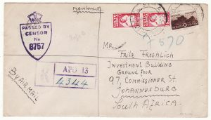 ITALY - SOUTH SFRICA...WW2 SOUTH AFRICAN FORCES REGISTERED & CENSORED...