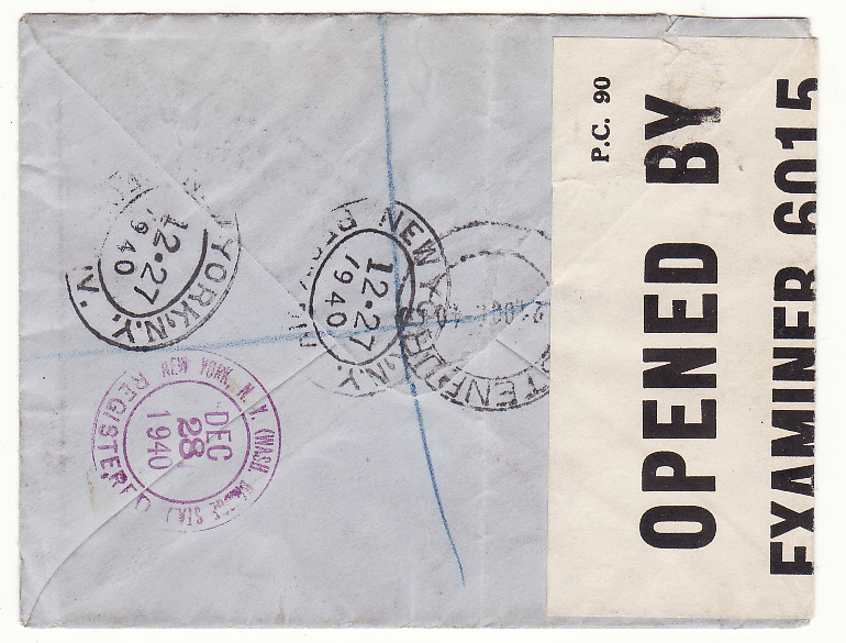 [20137]  SOUTH AFRICA - GB - USA..WW2 REGISTERED CENSORED FORWARDED..  1940 (Oct 21)