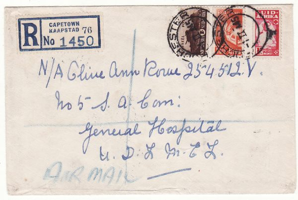 SOUTH AFRICA - EGYPT..WW2 REGISTERED AIRMAIL to GEN. HOSPITAL..