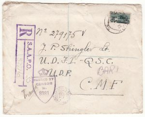 EGYPT - ITALY..WW2 SOUTH AFRICAN FORCES REGISTERED CENSORED..