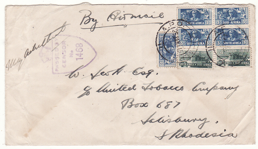 [20140]  ITALY - RHODESIA..WW2 SOUTH AFRICAN FORCES CENSORED AIRMAIL ..  1945 (Jan 25)