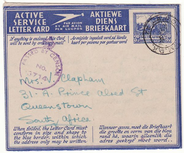 ITALY - SOUTH AFRICA...WW2 SOUTH AFRICAN FORCES 3d LETTERCARD with MANUSCRIPT HONOUR CERTIFICATION...