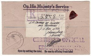 EGYPT - SOUTH AFRICA...WW2 SOUTH AFRICAN FORCES OHMS REGISTERED CERTIFIED OFFICIAL...