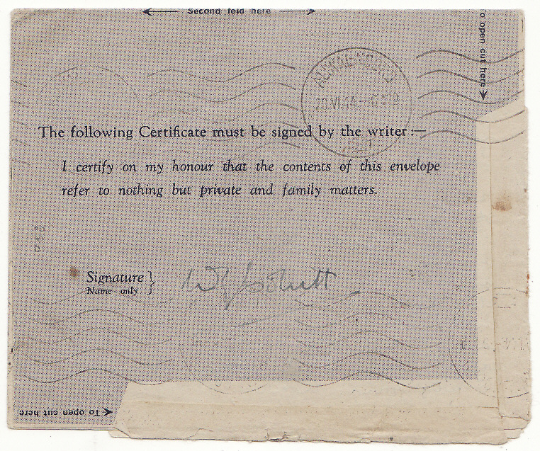 [20144]  ITALY - SOUTH AFRICA...WW2 SOUTH AFRICAN FORCES 3d AIR LETTER with PRINTED HONOUR CERTIFICATION...   1944 (Jun 16)