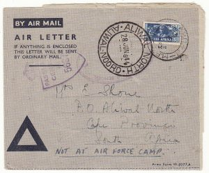 ITALY - SOUTH AFRICA...WW2 SOUTH AFRICAN FORCES 3d AIR LETTER with PRINTED HONOUR CERTIFICATION...