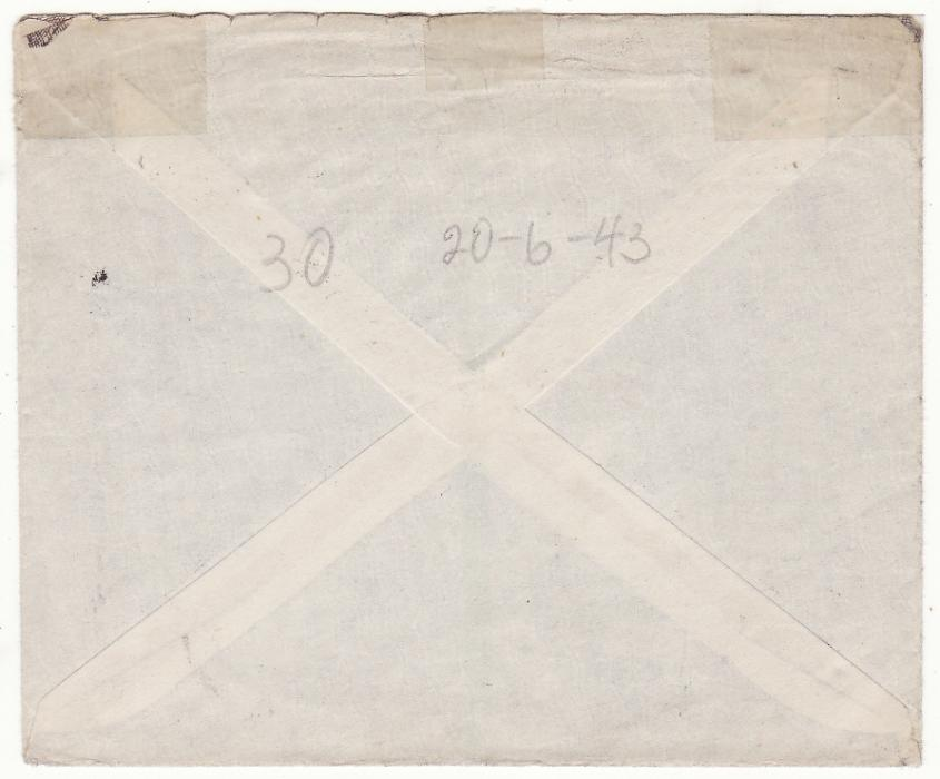 [20146]  EGYPT - SOUTH AFRICA… WW2 S.A. FORCES HONOUR ENVELOPE..  1943 (Jun 21)