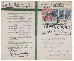 EGYPT - SOUTH AFRICA… WW2 S.A. FORCES HONOUR ENVELOPE..