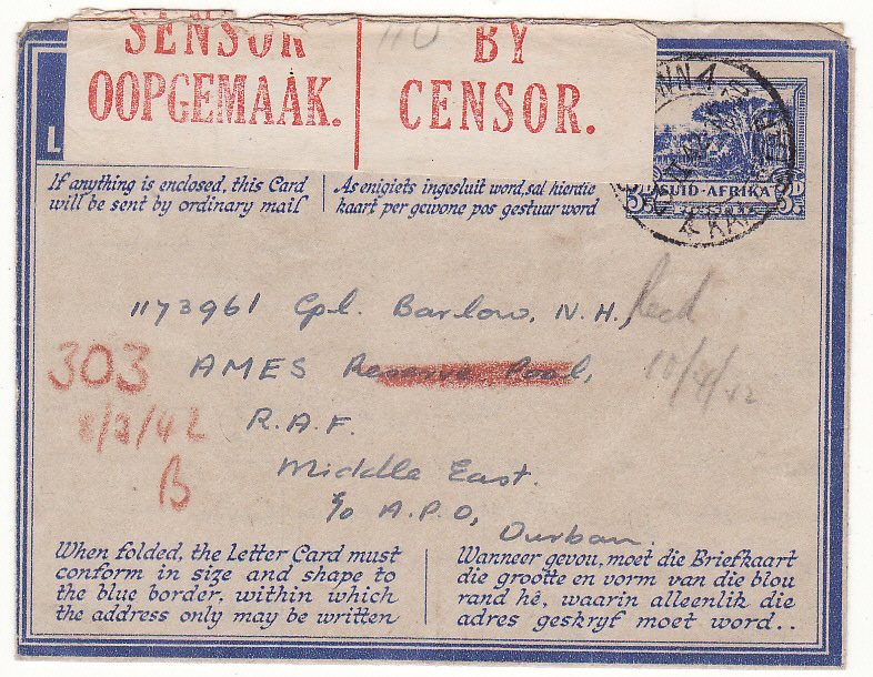 [20147]  SOUTH AFRICA - EAST AFRICA...WW2 3d LETTERCARD to A.M.E.S. ...   1942 (Feb 22)