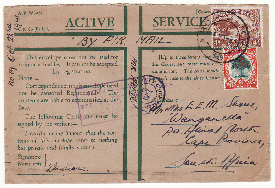 [20148]  EGYPT - SOUTH AFRICA…WW2 SOUTH AFRICAN FORCES DOUBLE CENSORED AIRMAIL..  1941 (Oct 24)