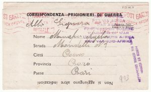 SOUTH AFRICA - ITALY... WW2 POW MAIL..