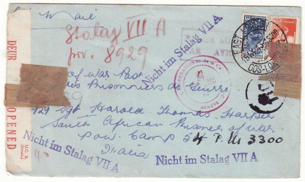 SOUTH AFRICA - ITALY & FORWARDED to GERMANY... WW2 POW MAIL via RED CROSS GENEVA..