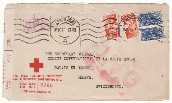 SOUTH AFRICA - SWITZERLAND... WW2 RED CROSS O.A.T.