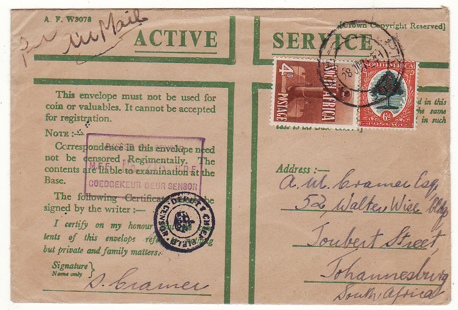 [20164]  EGYPT - SOUTH AFRICA…WW2 SOUTH AFRICAN FORCES at EL ALAMEIN ..  1941 Pair A.F. W3078 Active Service Honour envelopes by airmail to Johannesburg (28 Oct)
