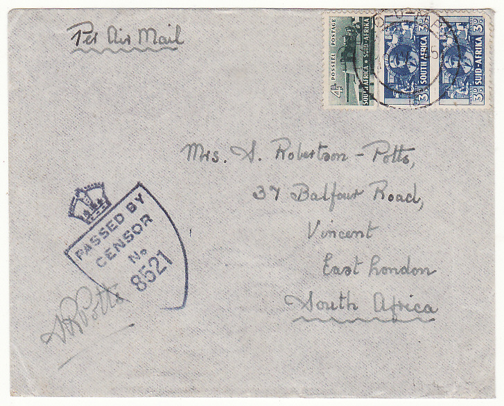 [20177]  ITALY - SOUTH AFRICA…WW2 SOUTH AFRICAN FORCES AIRMAIL…  1945 (Apr 17)