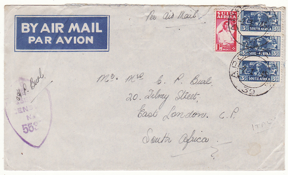 [20178]  ITALY - SOUTH AFRICA…WW2 SOUTH AFRICAN FORCES HOSPITAL by AIRMAIL…  1944 -45 Pair printed airmail envelopes to different address