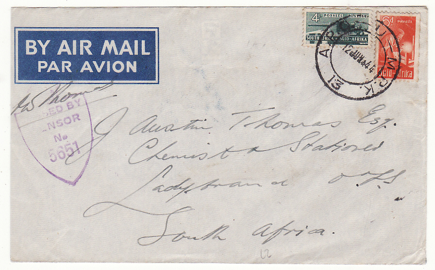 [20182]  ITALY - SOUTH AFRICA…WW2 SOUTH AFRICAN FORCES CENSORED AIRMAIL…  1944 Pair printed airmail envelopes one with trim on left first to Johannesburg bearing War economy half size vertical strip 3 x 3d & single 1d tied APO - U - MPK /13 cds (10 May)