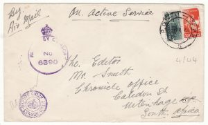 ITALY - SOUTH AFRICA…WW2 SOUTH AFRICAN FORCES AIRMAIL…