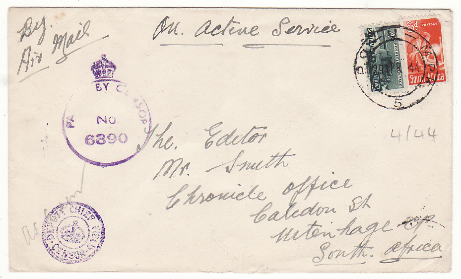 [20183]  ITALY - SOUTH AFRICA…WW2 SOUTH AFRICAN FORCES AIRMAIL…  1945 (Apr 29)