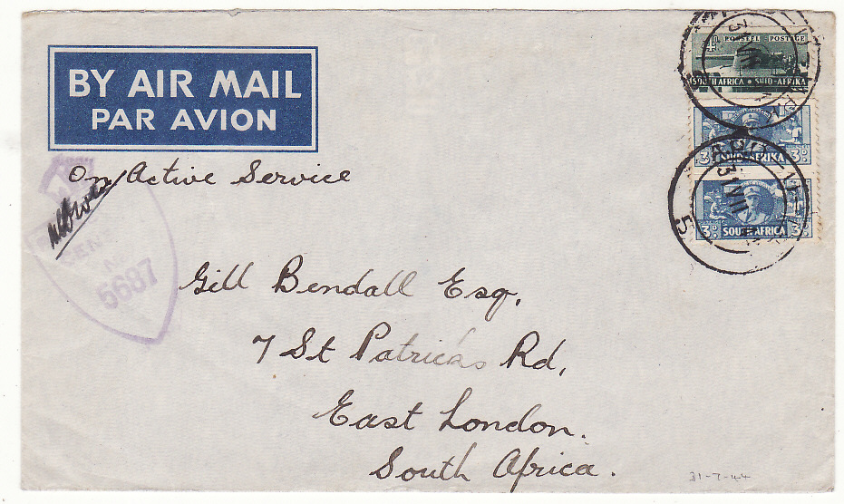 [20184]  ITALY - SOUTH AFRICA…WW2 SOUTH AFRICAN FORCES AIRMAIL…  1944 (Jul 31)