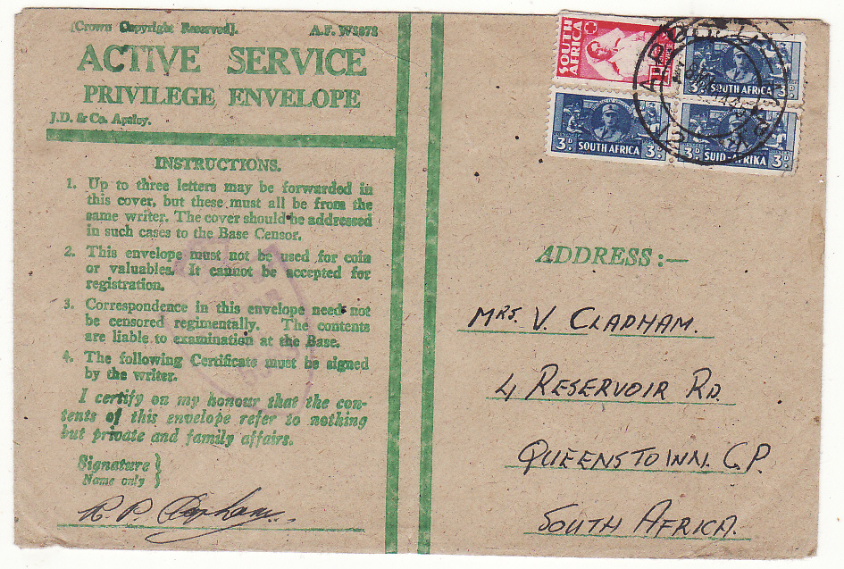 [20188]  ITALY - SOUTH AFRICA…WW2 SOUTH AFRICAN FORCES ..  1945 Pair A.F. W3078 Active Service Privilege envelope imprinted J.D. & Co. Apsley by airmail to East London (22 Feb)