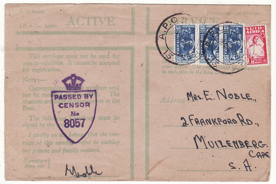 [20190]  ITALY - SOUTH AFRICA…WW2 SOUTH AFRICAN FORCES ..  1945 Plain envelope & A.F. W3078 Active Service Privilege envelope imprinted J.D. & Co. Apsley by airmail to East London (5 Oct)