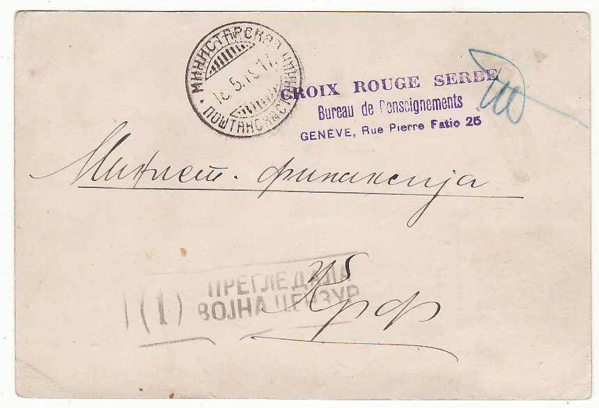 [20198]  SWITZERLAND - GREECE …WW1 RED CROSS to SERBIAN