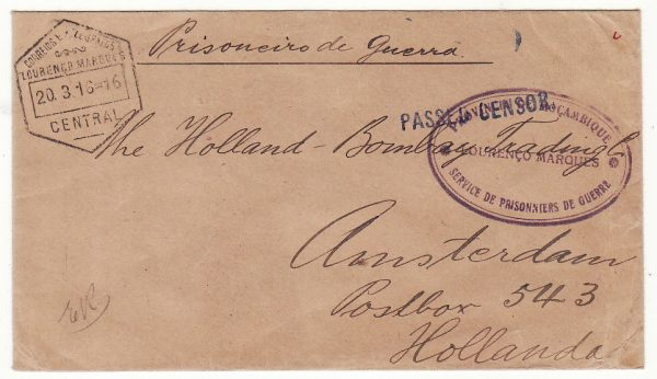 PORTUGUESE EAST AFRICA - NETHERLANDS….WW1 POW…