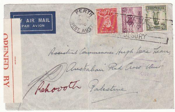 AUSTRALIA - PALESTINE…WW2 CENSORED AIRMAIL PERFINNED to RED CROSS…