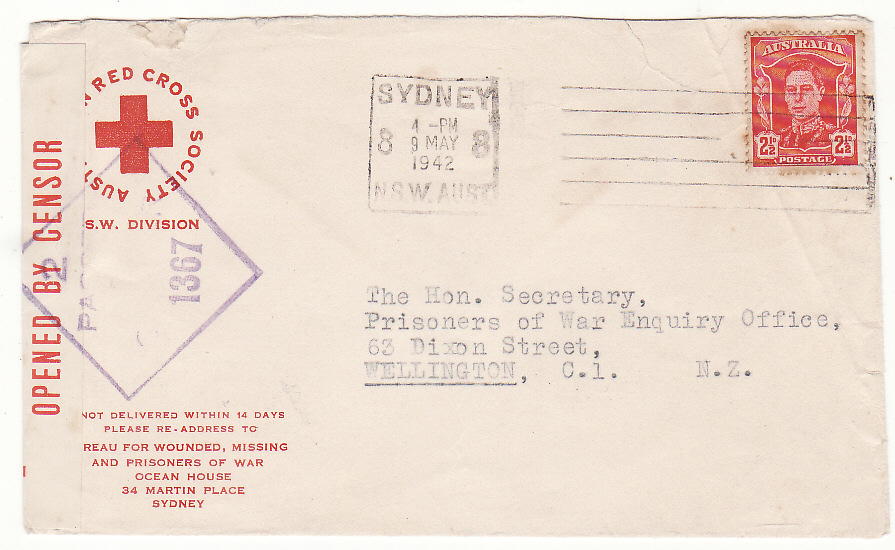 [20204]  AUSTRALIA - NEW ZEALAND…WW2 RED CROSS N.S.W. DIVISION…  1942 Pair Australian Red Cross, Bureau for Wounded, Missing & POW, Sydney printed envelopes both to POW Enquiry Office, Wellington bearing 2½d Sydney date stamp (9 May)