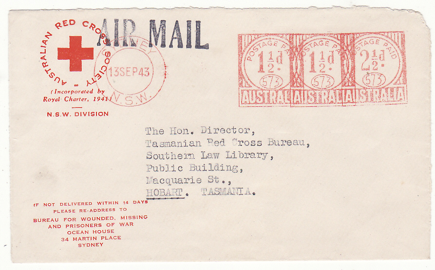 [20205]  AUSTRALIA - NEW ZEALAND…WW2 RED CROSS N.S.W. DIVISION…  WW2 Pair Australian Red Cross, Bureau for Wounded, Missing & POW, Sydney printed envelopes both by airmail to Red Cross Bureau, Hobart, Tasmania. 1941 (5 Nov)