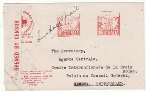 AUSTRALIA - SWITZERLAND…WW2 RED CROSS METER CANCEL to GENEVA…