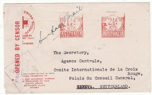 AUSTRALIA - SWITZERLAND…WW2 RED CROSS METER CANCEL to GENEVA…