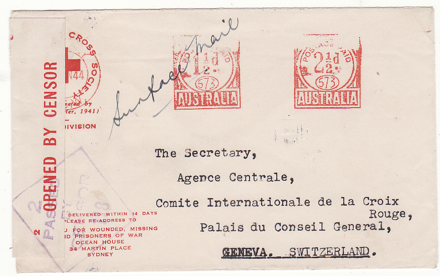 [20207]  AUSTRALIA - SWITZERLAND…WW2 RED CROSS METER CANCEL to GENEVA…  1944 (Jun 14)