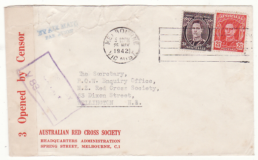 [20212]  AUSTRALIA - NEW ZEALAND…WW2 RED CROSS HQ MELBOURNE to RED CROSS, N.Z.…  1942 (May 25)
