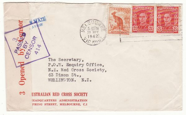 AUSTRALIA - NEW ZEALAND…WW2 RED CROSS HQ MELBOURNE to RED CROSS