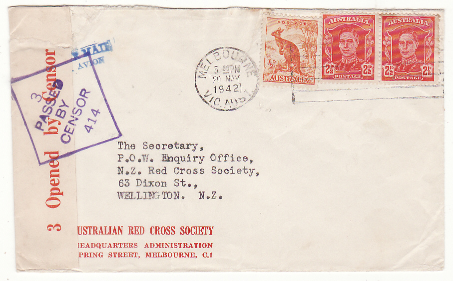 [20213]  AUSTRALIA - NEW ZEALAND…WW2 RED CROSS HQ MELBOURNE to RED CROSS, N.Z.…  1942 (May)