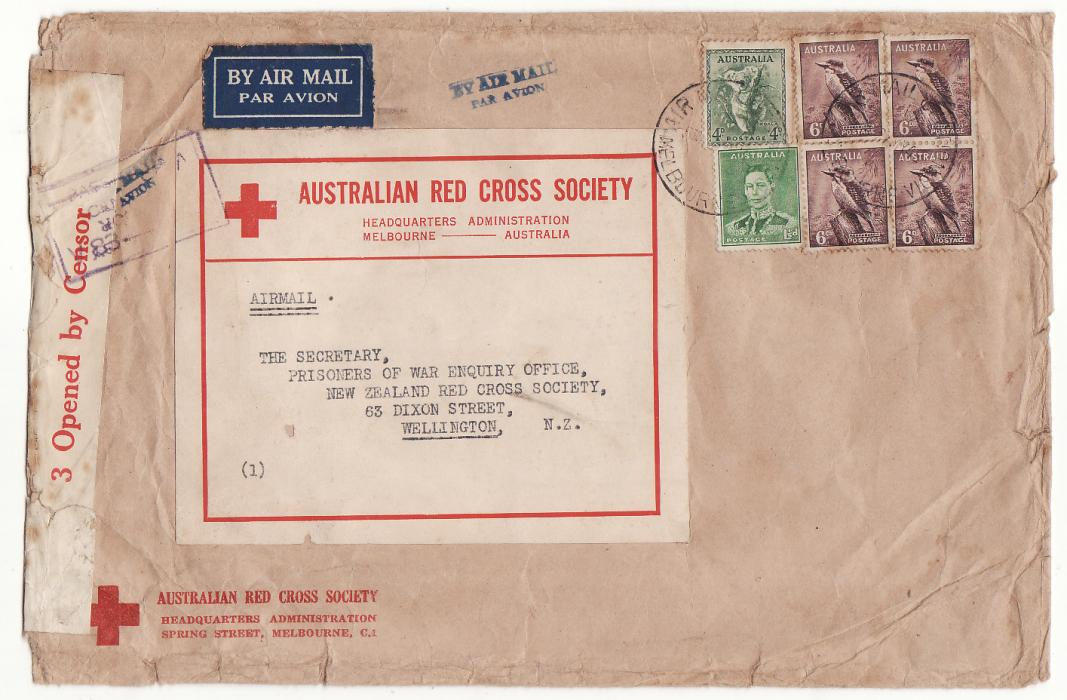 [20215]  AUSTRALIA - NEW ZEALAND…WW2 RED CROSS HQ MELBOURNE to RED CROSS, N.Z at 2/5½d RATE.…  1942 (May 27)