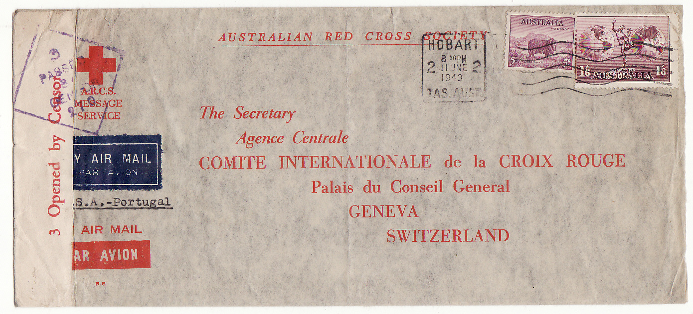 [20227]  AUSTRALIA - SWITZERLAND…WW2 A.R.C.S. MESSAGE SERVICE to RED CROSS, GENEVA at 1/11d RATE...................... 