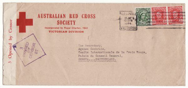AUSTRALIA - SWITZERLAND…WW2 AUSTRALIAN RED CROSS