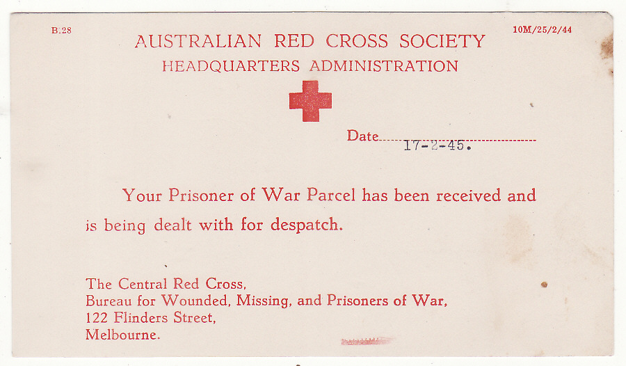 [20239]  AUSTRALIA...WW2 RED CROSS PARCEL RECEIVED ACKNOWLEDGEMENT CARD .…  1945 (Feb 17)