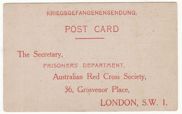 AUSTRALIA …WW2 RED CROSS  PARCEL ACKNOWLEDGMENT CARD  .…