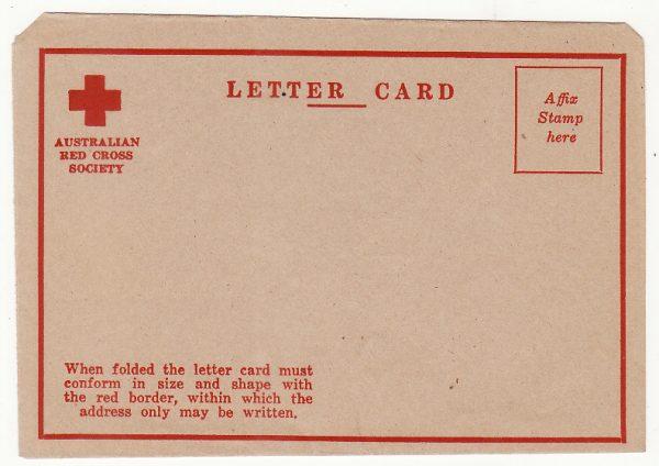 AUSTRALIA …WW2 AUSTRALIAN RED CROSS  LETTER CARD  .…
