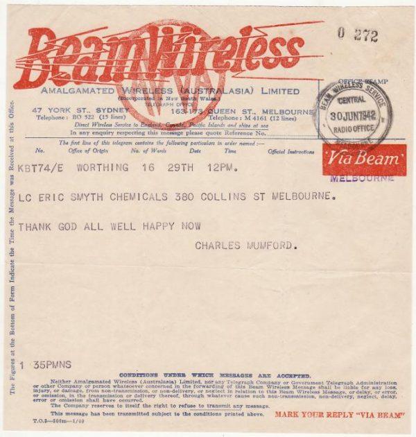 AUSTRALIA …WW2 BEAM WIRELESS TELEGRAM  .…