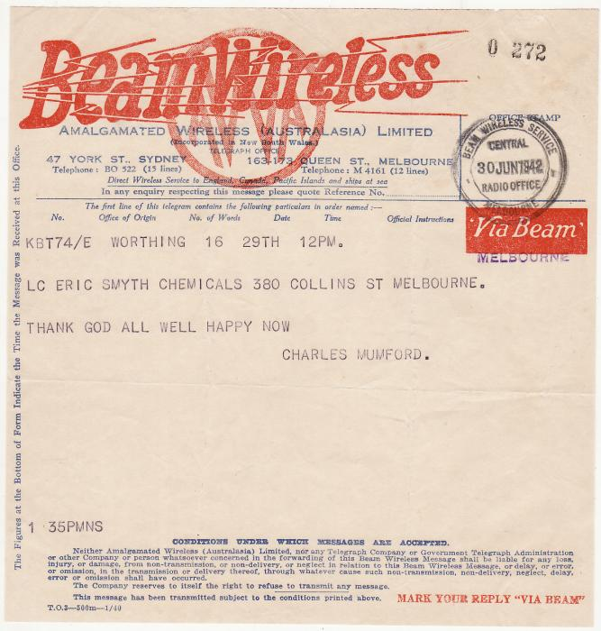 [20242]  AUSTRALIA …WW2 BEAM WIRELESS TELEGRAM .…  1942 (Jun 29)