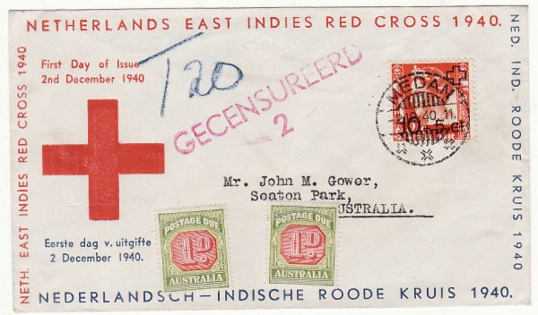 N.E.I. - AUSTRALIA…RED CROSS FIRST DAY of ISSUE CENSORED & TAXED….