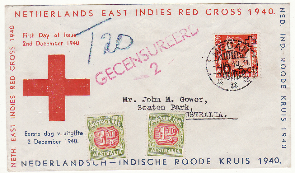 [20243]  N.E.I. - AUSTRALIA…RED CROSS FIRST DAY of ISSUE CENSORED & TAXED….  1940 (Dec 2)